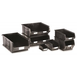 Recycled Black Semi-Open Front Containers
