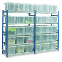 Bolt Free Shelving with 15 x 14 Ltr. Containers.